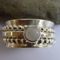 Sterling silver 3 spinner ring Rainbow Moonstone size T thumb ring
