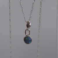 Solid blue Australian Opal on silver chain 18 inches Oct birthstone gift for her