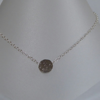 Sterling silver small hollowform pendant silver trace chain 3mm
