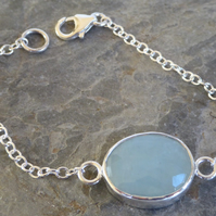 Pale Blue Aquamarine rose cut cabochon silver chain bracelet  March birthstone
