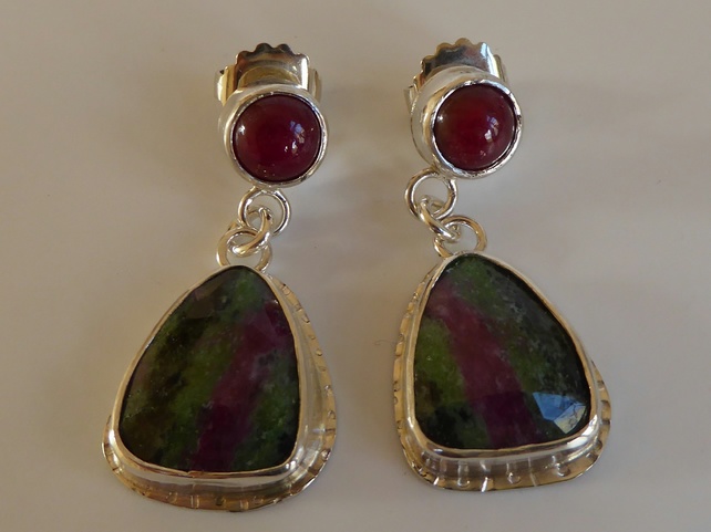 Ruby in Zoisite,Indian Ruby dangle drop earrings sterling silver post and scroll