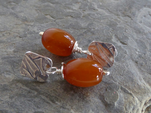 Baltic Amber and sterling silver post and scroll stud earrings dangle and drop