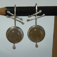 Golden Rutilated Quartz sterling silver earrings handmade boho