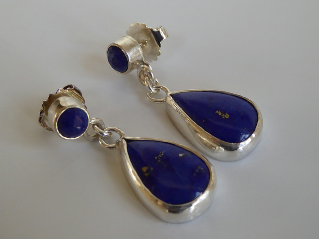 Lapis Lazuli sterling silver post and scroll earrings free shipping