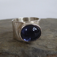 Ceylon Sapphire wide silver statement ring size Q Free Shipping