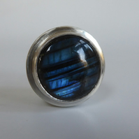Sterling silver trinket box Labradorite push fit lid handmade