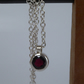 Faceted Rhodolite Garnet birthstone solitaire silver chain necklace pendant