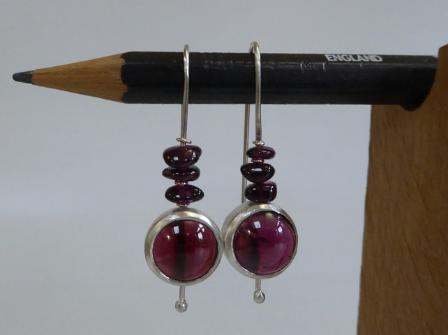 Garnet sterling silver drop earrings handmade January birthstone