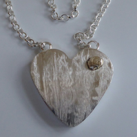 Hollowform sterling silver heart gold accent heavy belcher chain one of a kind