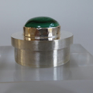 Malachite and sterling silver miniature round box  keepsake tooth fairy box