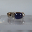 Light blue Sapphire cabochon sterling silver ring size P September birthstone