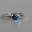 Topaz Kashmir Blue Swarovski set in sterling silver ring size Q stacking