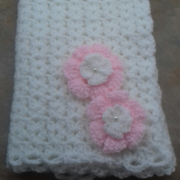 Baby girl  white crocheted  blanket with pink  flowers