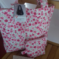 Tote bag with matching accessories in pink  rose floral fabric.
