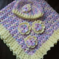 Crocheted baby hat and blanket in multi colours and lemon gift set