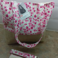 Tote bag with matching accessories in pink  rose floral fabric.and Hessian base