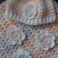 Baby girl crocheted hat with matching Blanket with crocheted flowers