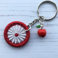 Bag Charm Keyring with Dorset Button and Apple Charm