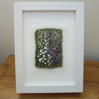 Summer garden embroidered picture.  Abstract flowers in white frame