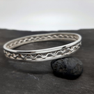 Sterling Silver Bordered Ripple Bangle