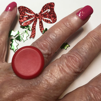 Red Button Adjustable Ring