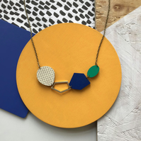 Abstract Geometric Gem Wooden Statement Necklace