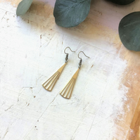 Geometric Brass Fan Drop Earrings
