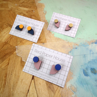 Curve and Dot Geometric Wooden Stud Earrings