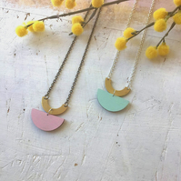 Geometric Arc Wooden Necklace