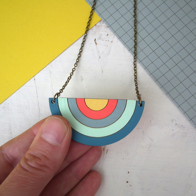 Large Statement Wooden Rainbow Necklace