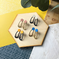 Geometric Wave Wood and Brass Stud Earrings
