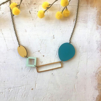 Statement Geometric Bloc Contemporary Necklace