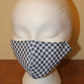 Blue and White Check Adult's Face Covering