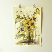 Purple flowers in a vase mixed media painting