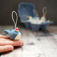 Small Handmade Whale Christmas Tree Ornaments - Plastic Free Packaging
