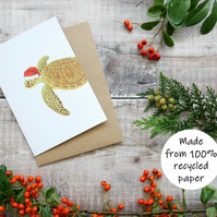 Turtle Christmas Card, Illustrated Recycled A6 Card Inspired by Wildlife