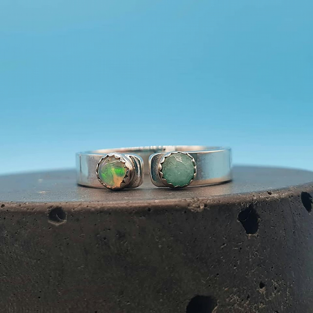 Silver Open Band Ring Featuring Amazonite & Opal
