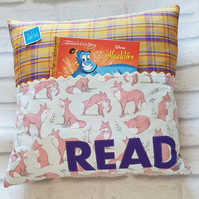 Reading cushion with handle, bookworm, reader gift,