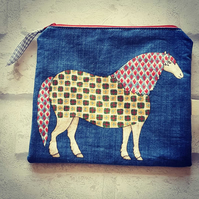 Zipper pouch with funky horse print, fully lined, cosmetic bags, toiletries bag