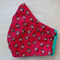Small Face Mask - Face Covering - Christmas Holly