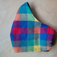 Face Mask - Face Covering - Bright Checks - Medium