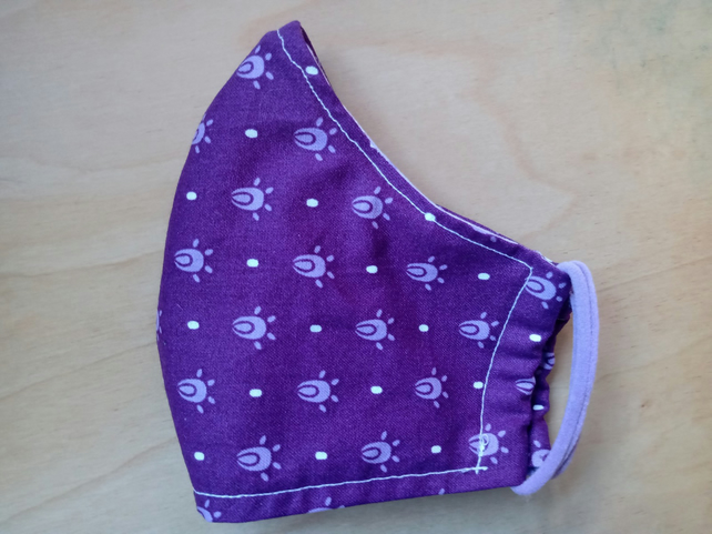 Face Mask - Face Covering - Purple Pattern - Small