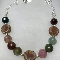 A Sterling Silver necklace with Agate & Czech artisan glass beads