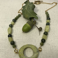 A necklace with Jade beads