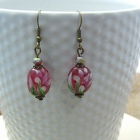 Artisan glass bead earrings