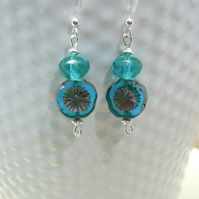 Sterling Silver earrings with Czech glass & crystal beads