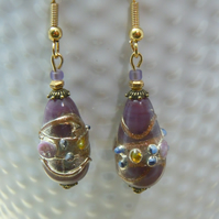 Artisan Lampwork Venetian style glass foil bead earrings