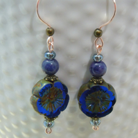 Czech glass flower & semi-precious Lapis Lazuli Earrings