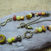 Mookaite Jasper, Lemon Jade & Czech glass bead necklace