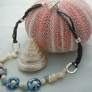 Seashell rings necklace with Czech glass beads